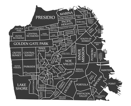 San Francisco city map USA labelled black illustration