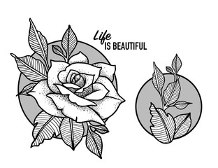Rose Tattoo Design Blackwork tattoo flash. Highly detailed vector illustration isolated on white. Tattoo design. New school dotwork, lineart. Print, posters, t-shirts and textile