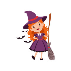 Joyful red-haired girl witch standing with broom and wearing purple dress and hat. Kid character in costume surrounded with black bats. Vector flat cartoon illustration on white.