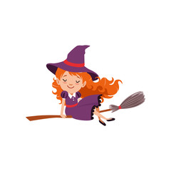 Little red-haired girl witch flying on a broomstick in purple dress and hat. Happy kid character in costume. Trick or Treat Halloween concept. Flat cartoon vector