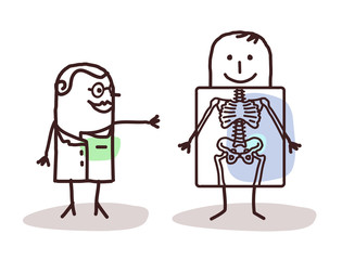 Cartoon Doctor  Radiologist with Patient