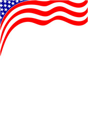American flag wave background frame with empty space for text.
