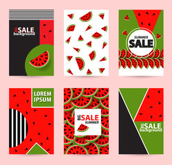 Trendy Memphis style watermelon geometric pattern, vector illustration