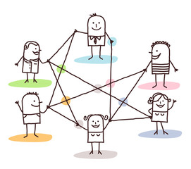 Cartoon Group of People Connected by Lines