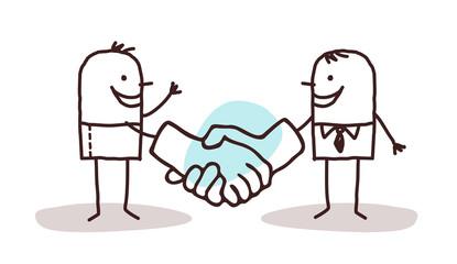 Cartoon Men Shaking Big Hands