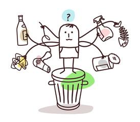 Cartoon Man Sorting the Trash