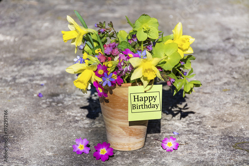 Happy Birthday Greeting Card With Spring Flowers Bouquet And Tag