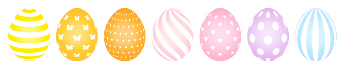 7 Easter Eggs Pattern Pastel