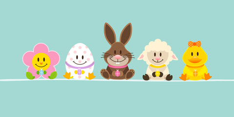 Banner Easter Rabbit & Friends Retro