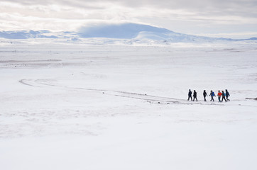 iceland nature, winter travel photo in snow, adventure, trip, hiking, mountains.