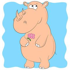rhinoceros and flower cartoon