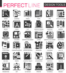 Vector Interface design tools black mini concept icons and infographic symbols set