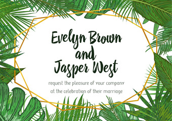 Wedding Invitation, floral invite card Design with green tropical forest palm tree leaves, forest fern greenery simple, geometric golden border hexagonal print. Vector