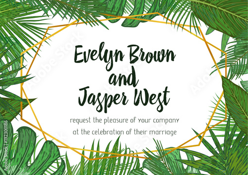 Wedding invitation floral invite card design with green tropical wedding invitation floral invite card design with green tropical forest palm tree leaves forest stopboris Image collections