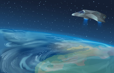 Vector illustration of spaceship flying over planet to blue star in opened galaxy space. Earth view from space.
