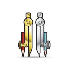 two pencil compass vector illustration