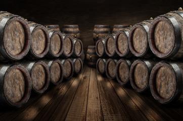 Oak wine barrels in the wine cellar.