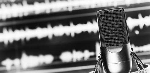 Condenser microphone close up