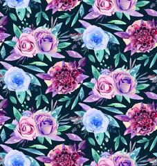 Watercolor floral pattern. Boho flowers bouquet. Purple and blue
