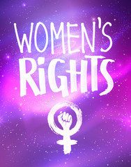 Vector poster with Womens Rights lettering