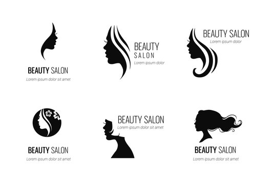 Set of black vector beauty salon or hairdresser icon designs isolated on white background