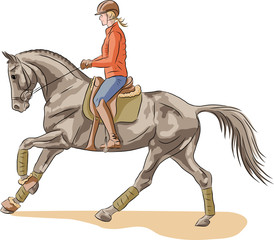 A sketch of a girl riding on a horse.
