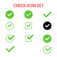 Check icon set , Approved symbol.