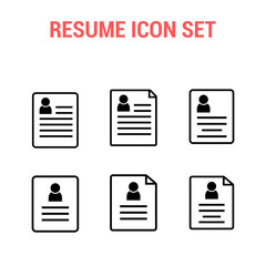 Resume icon set , CV symbol