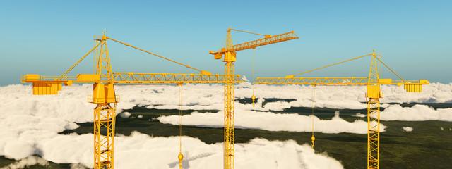 Baukräne über den Wolken