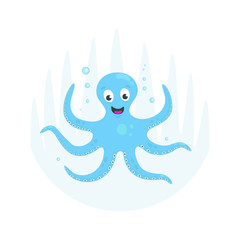 Blue  octopus cartoon character. Flat smiling octopus with bubbles, isolated on grey background.  Aquatic fauna.  Vector animal illustration for children book illustrating.