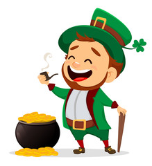 Cartoon funny leprechaun with smoking pipe and cane standing near pot of gold