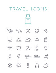 Set of Quality Universal Standard Minimal Simple Travel Black Thin Line Icons on White Background