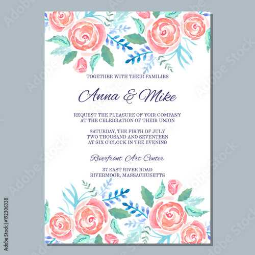 Wedding invitation template with watercolor roses, thank you card ...