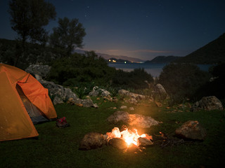 camping with fire at night