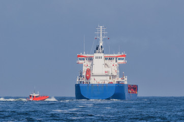 CHEMICAL/OIL PRODUCTS TANKER - Cargo ship is sailing into  sea