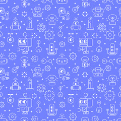 Custom blinds with your photo Seamless robot pattern with robot machine