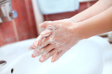 Hand washing with soap