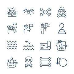 Pirate vector icon set.