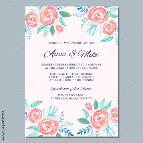 Wedding invitation template with watercolor roses thank you card wedding invitation template with watercolor roses thank you card save the date cards m4hsunfo