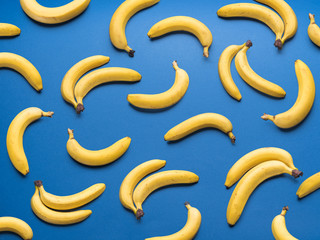 Bananas on the blue background.