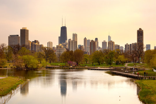 Downtown skyline and South Pond at Lincoln Park in Chicago, Illinois