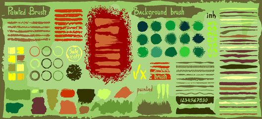 Grunge big set of spots paint, ink brush strokes, brushes, lines. Dirty artistic design elements, boxes, circles, round frames. Vector illustration. Isolated on  background. Freehand drawing.