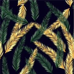 Vector infinite pattern of palm leaves. Seamless summer pattern