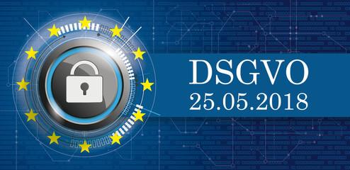 DSGVO Banner mit Vorhängeschloss, EU-Flagge mit Bits und Schaltplan