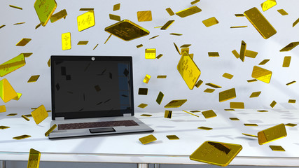 Fototapete - Notebook With Golden Bars Confetti