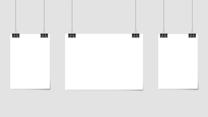 Poster template of a paper sheet. Hanging posters Set. Vector illustration