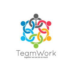 Teamwork chain logo. Business team union concept icon on white background.