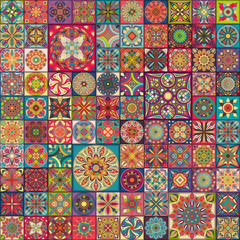 Seamless pattern with decorative mandalas. Vintage mandala elements. Colorful patchwork.