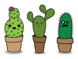 Vector cute freehand drawing cactus.