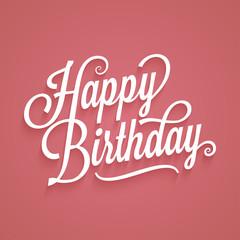 Happy birthday vintage lettering. Birthday card logo retro background